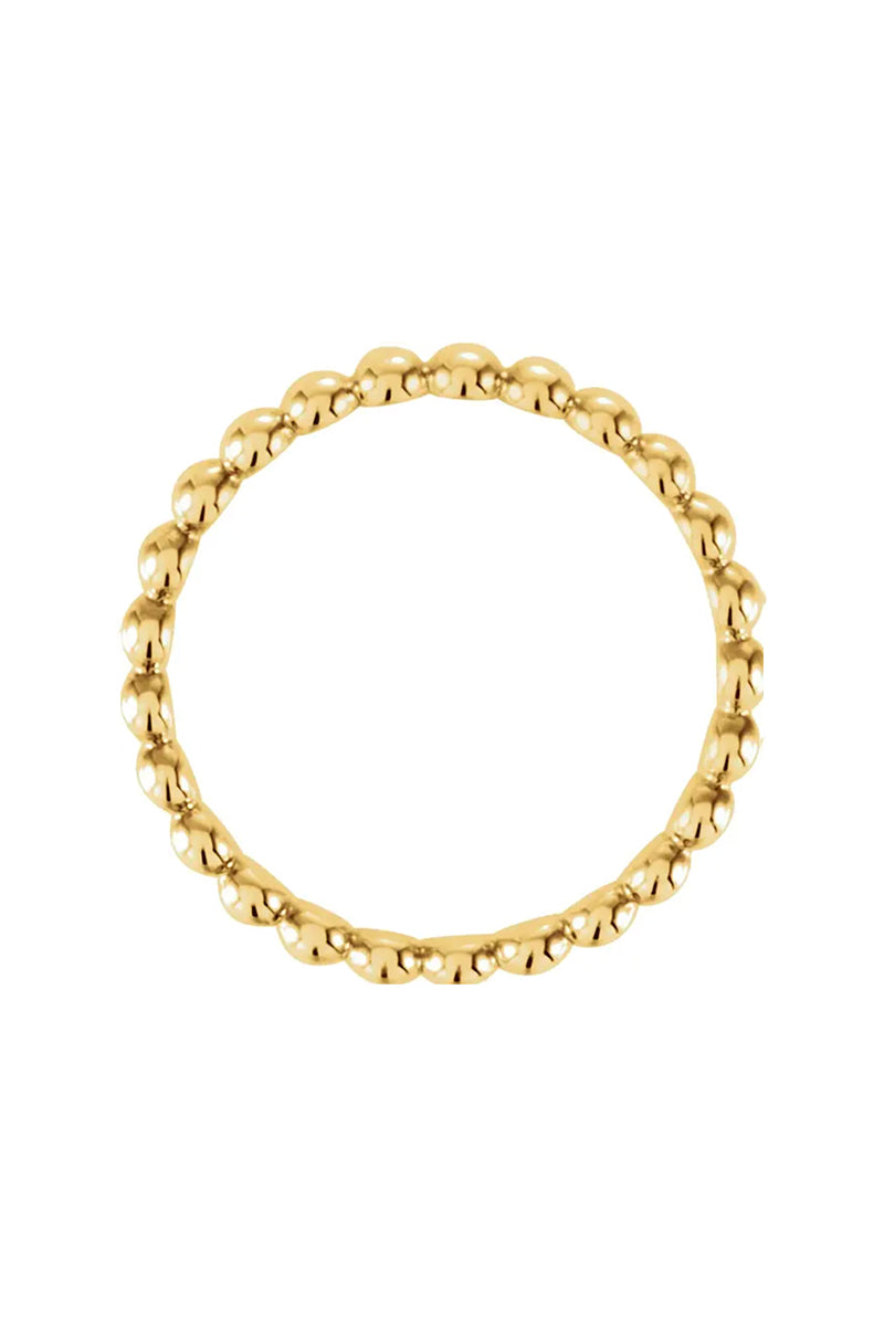 2.5 mm Beaded Stackable Ring - 14k Yellow Gold