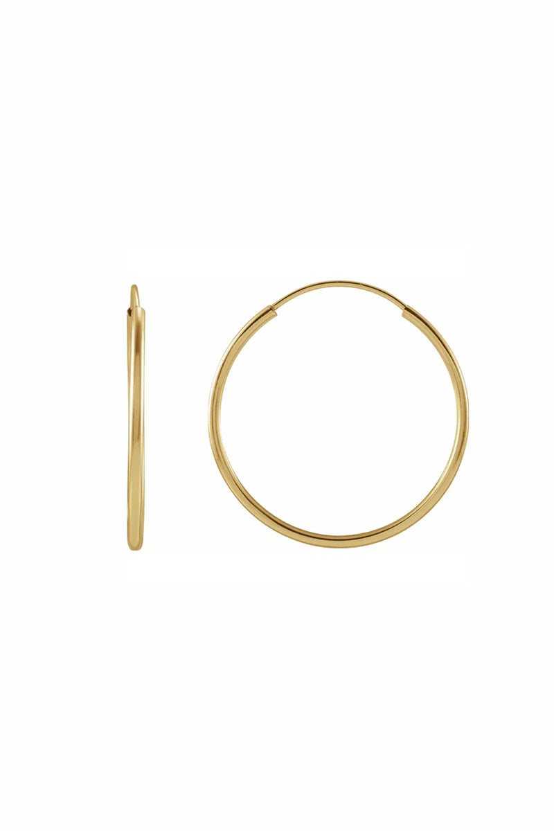 20mm Flexible Endless Hoop Earrings - Yellow Gold