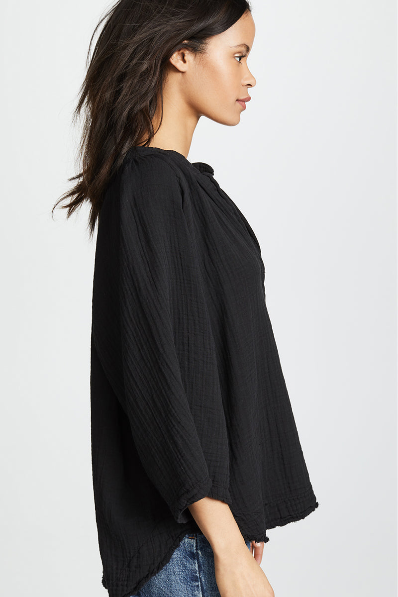 Marrakesh Dashiki Top Double Gauze - Black