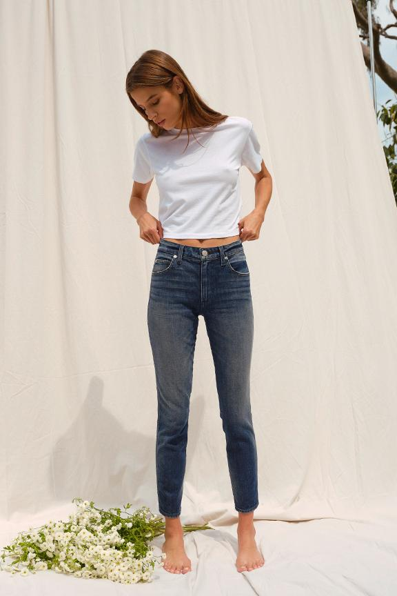 Stix Crop Mid Rise Ankle Skinny - Forever Blue