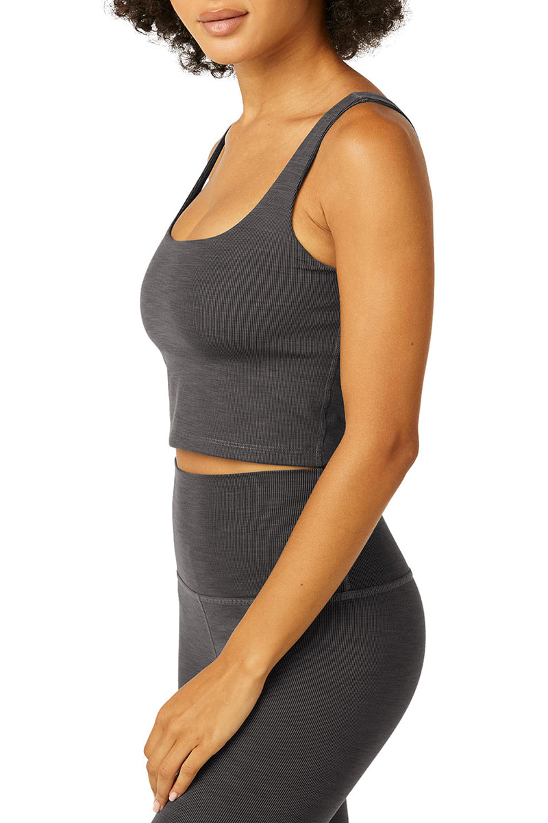 Heather Rib Keep It Simple Cropped Tank - Smoke Grey Heather