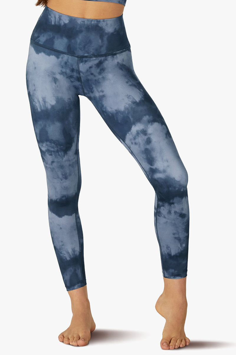 Lux Cloud High Waisted Midi Legging - Stormy Blue Cloud