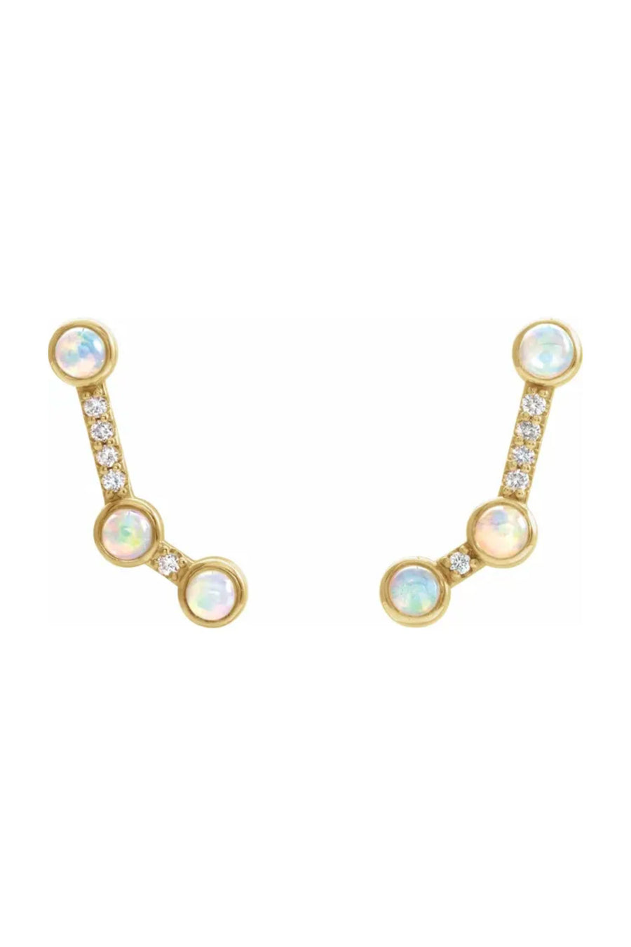 Constellation Climber Earrings - Ethiopian Opal & Diamonds - Pavilion