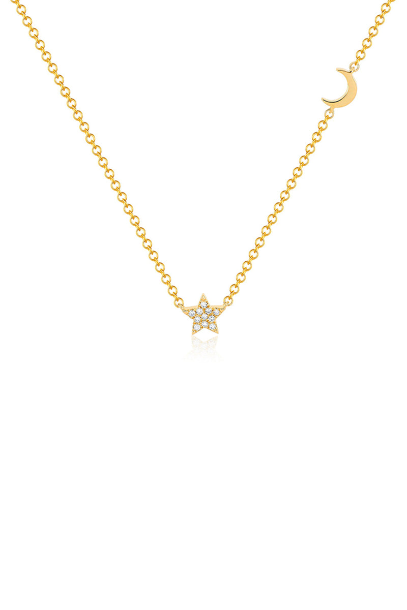 Baby Diamond Star and Gold Moon Necklace - 14k Yellow Gold