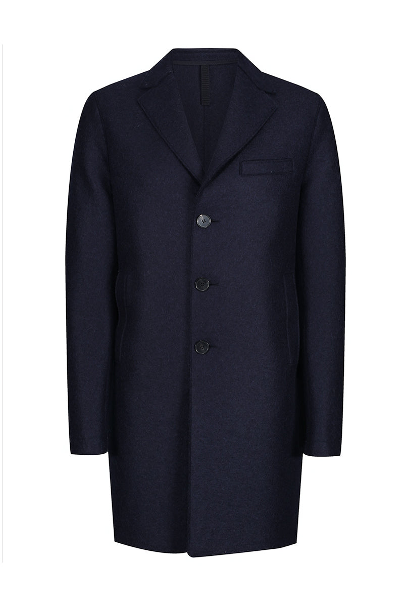 Pressed Wool Boxy Coat - Navy