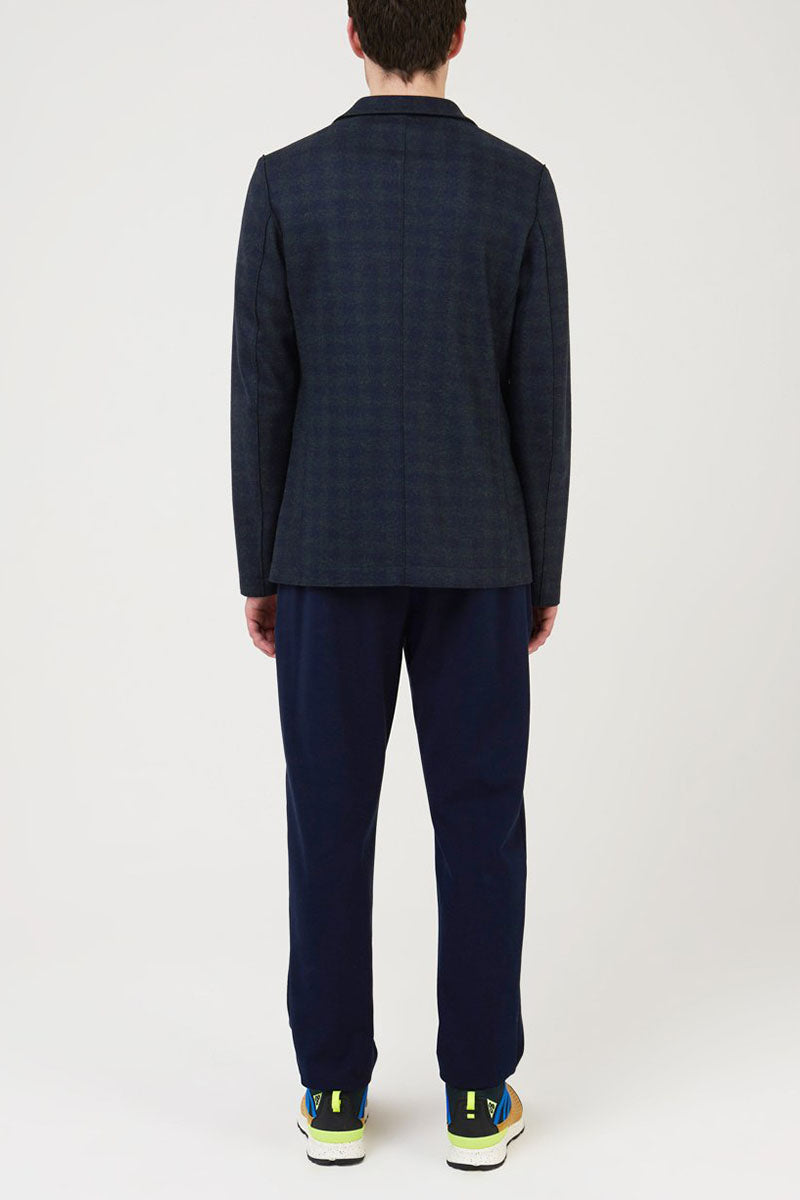 Flannel Tartan Check Blazer - Navy and Green