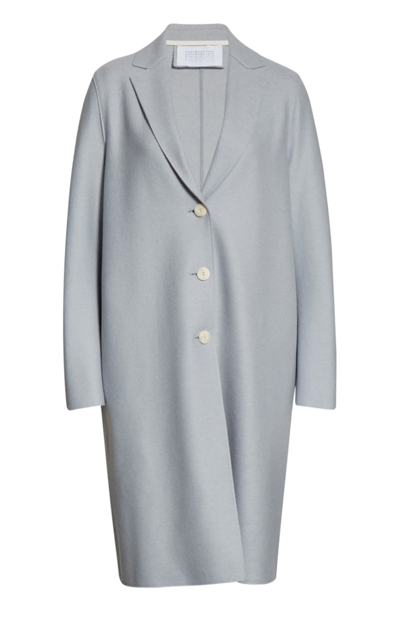 Overcoat Light Pressed Wool - Grey Blue