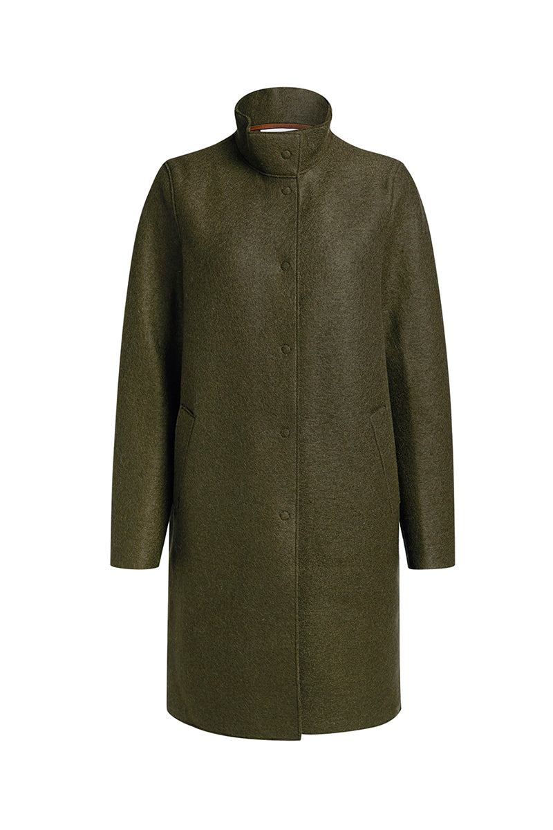 Egg Shaped Coat Pressed Wool and Polaire - Moss Green