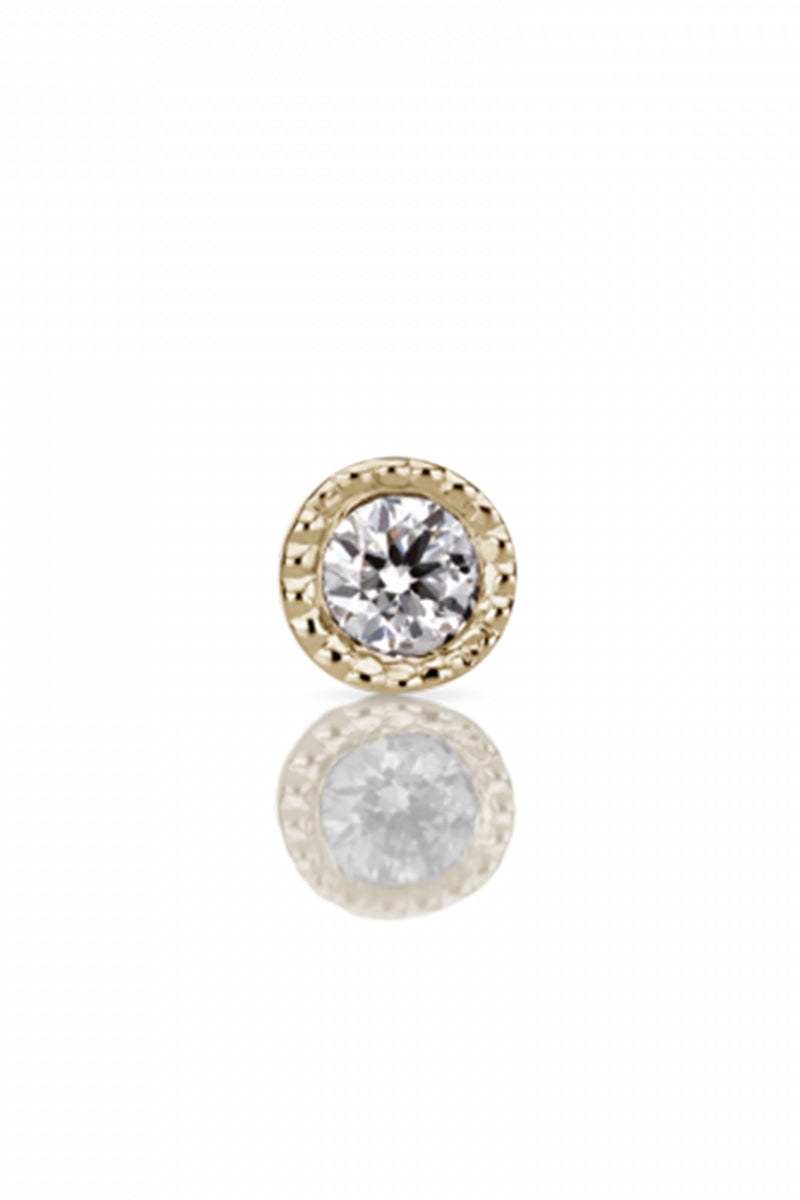 2mm Scalloped Set Diamond Threaded Stud - Yellow Gold