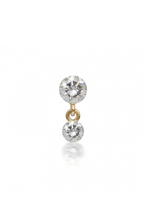 2mm-1.5mm Invisible Set Diamond Dangle Earstud - Yellow Gold