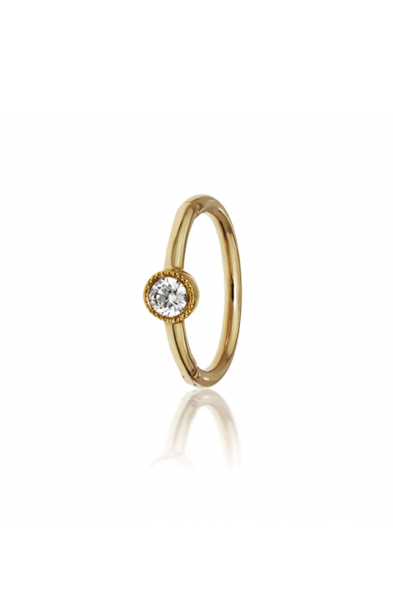 8mm Scalloped Diamond Clicker - Yellow Gold