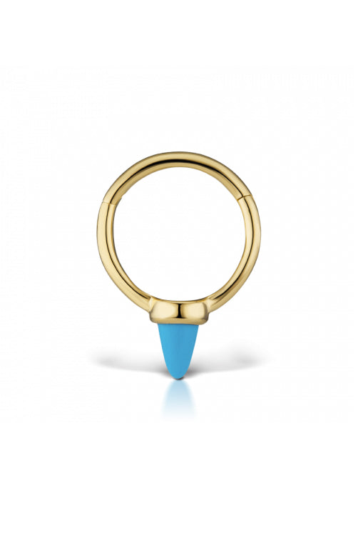 8mm Single Short Turquoise Spike Clicker - Yellow Gold