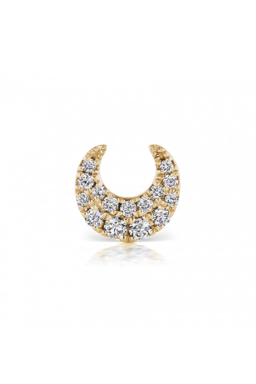 Diamond Moon Earstud - Yellow Gold