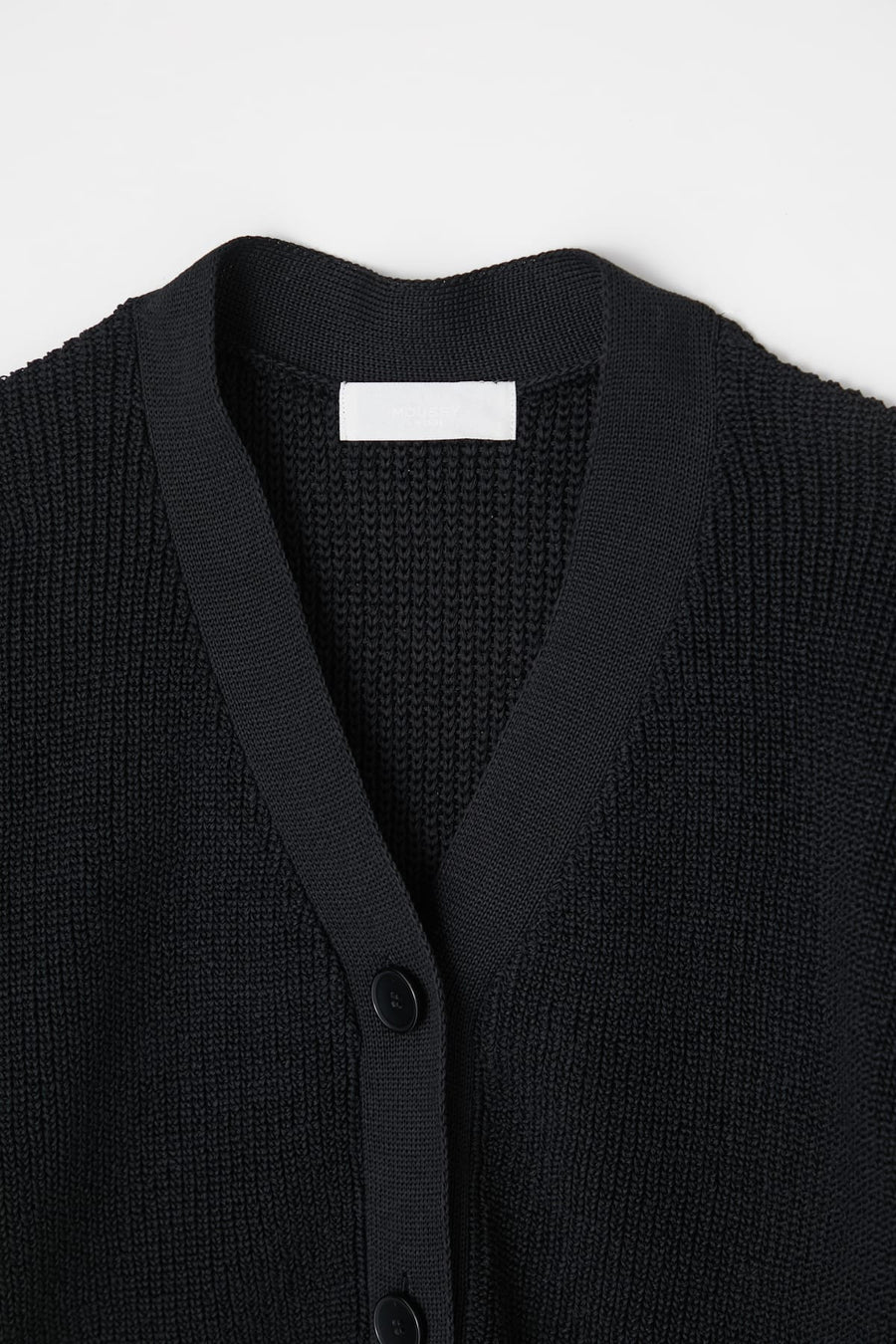 Rib Stitch Cardigan - Black