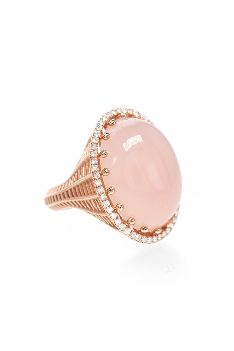 Signature Cabochon Cocktail Ring - Pink Chalcedony w/ White Diamond Pave in Rose Gold