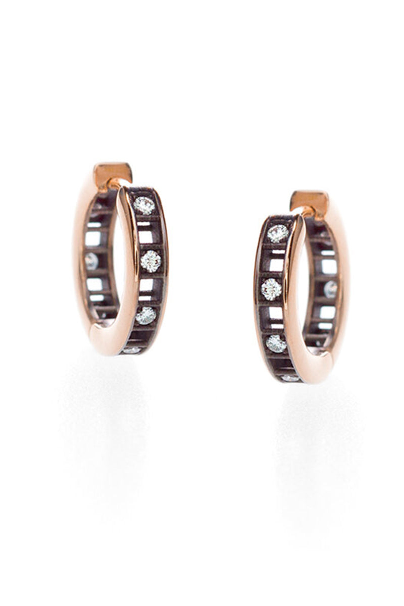 Pixel Dust Petite Hoop - White Diamonds Blackened Rose Gold