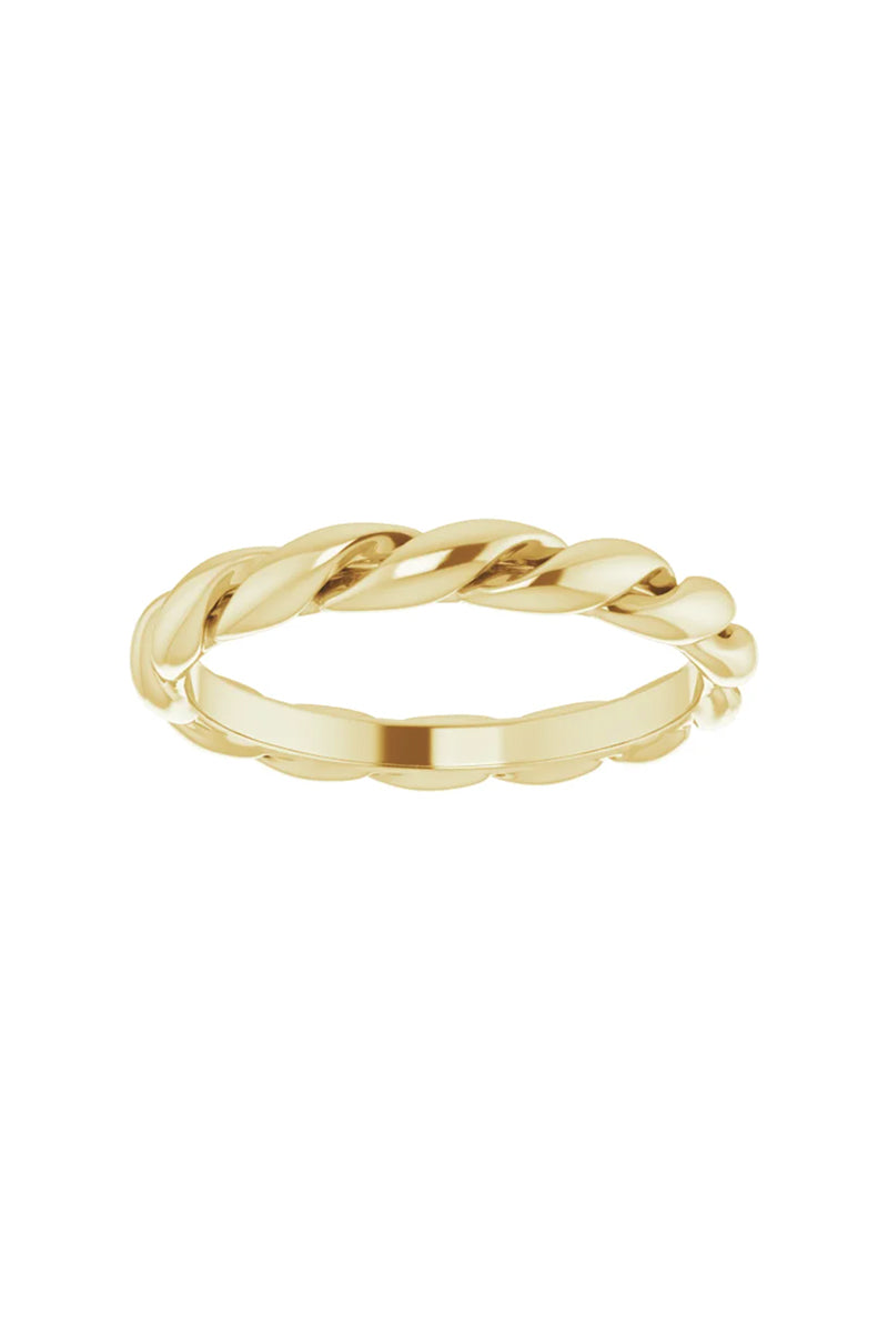 3mm Twisted Band Ring - 14k Yellow Gold