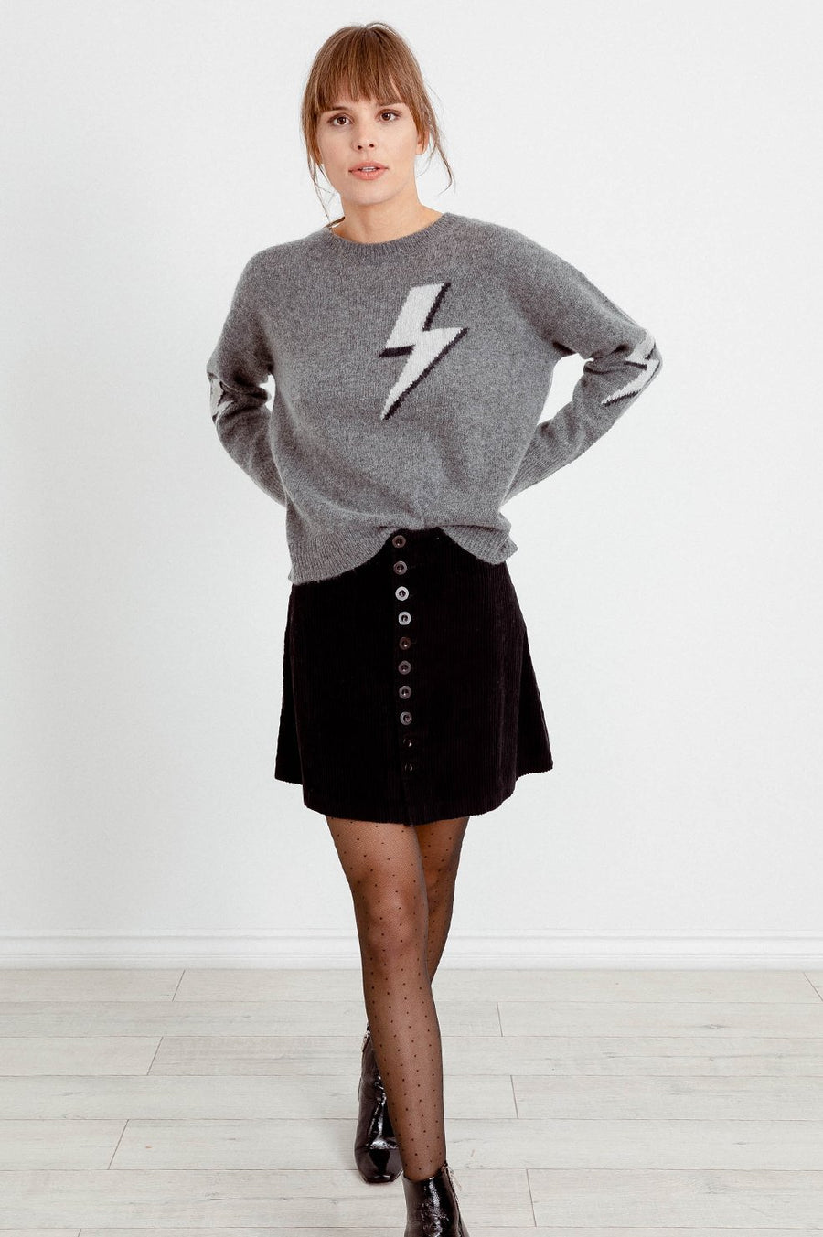 Virgo Bolted Sweater - Grey Lightning Bolt