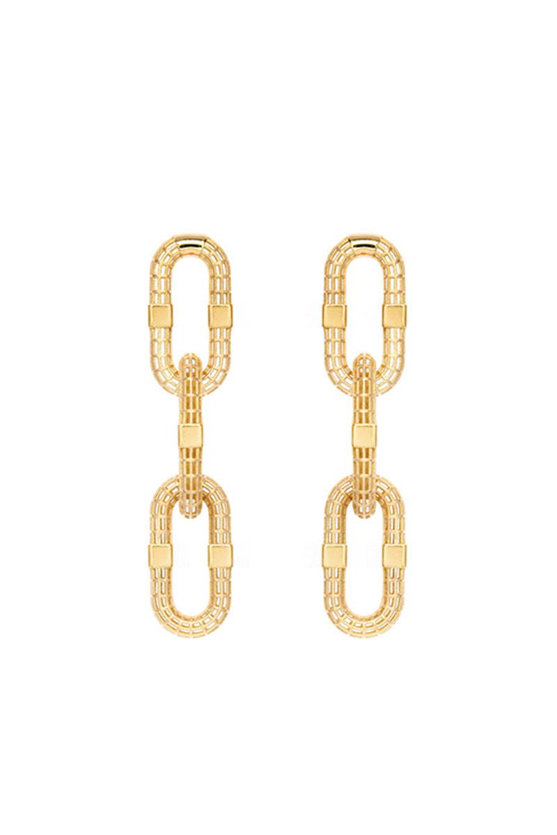 3-Link Signature Long Link Earrings w/ Disco Squares Posts - YG