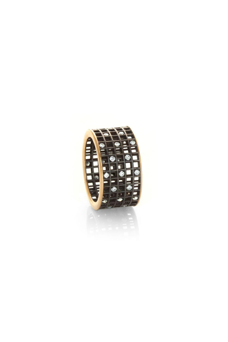 Five-Row Pixel Dust Stacking - White Diamonds Blackened Yellow Gold