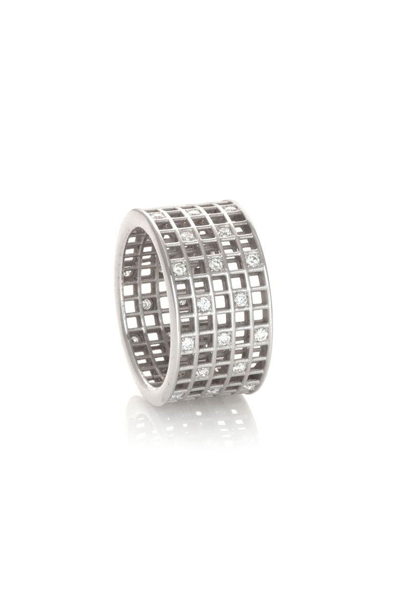 Five-Row Pixel Dust Stacking - White Diamonds White Gold