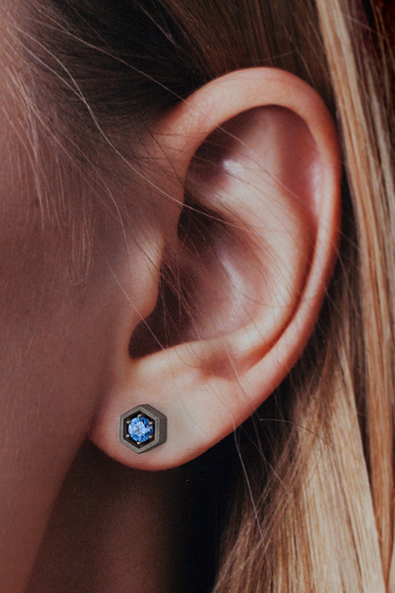 Hex Stud Earrings - Blue Sapphire Blackened White Gold