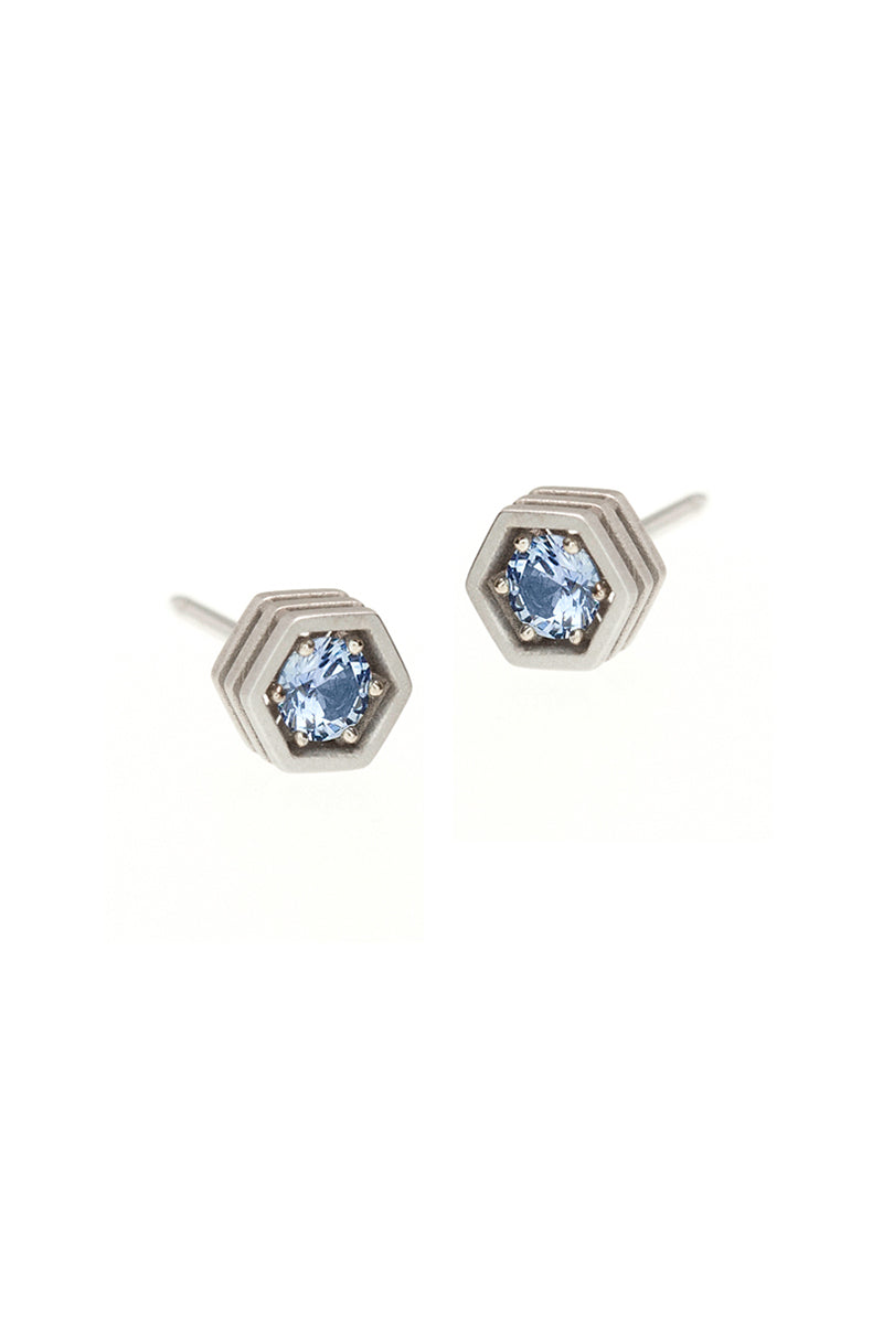 Three Storey Hexy Single Stud Earrings - Pastel Blue Sapphire White Gold