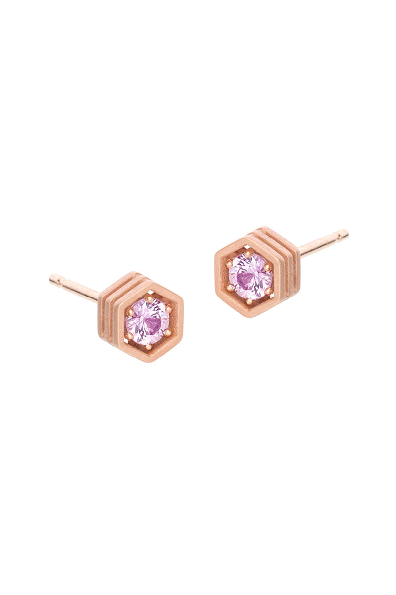 Three Story Hexy Single Stud Earring - Pink Sapphires RG