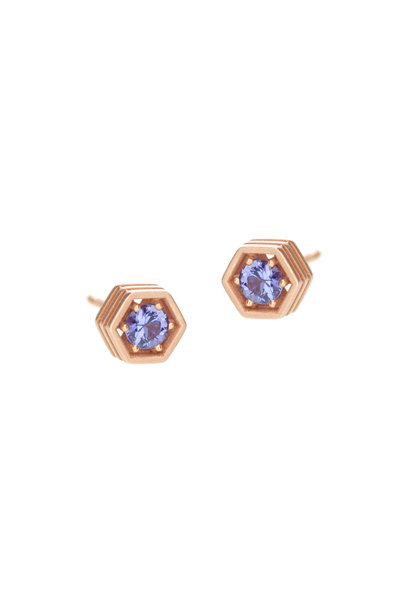 Hex Stud Earrings - Purple Sapphire Rose Gold