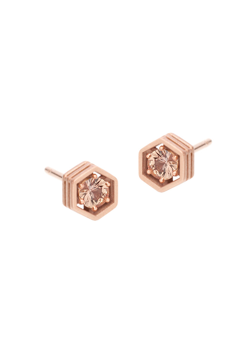 Three Story Hexy Single Stud Earring - Russet Sapphires RG