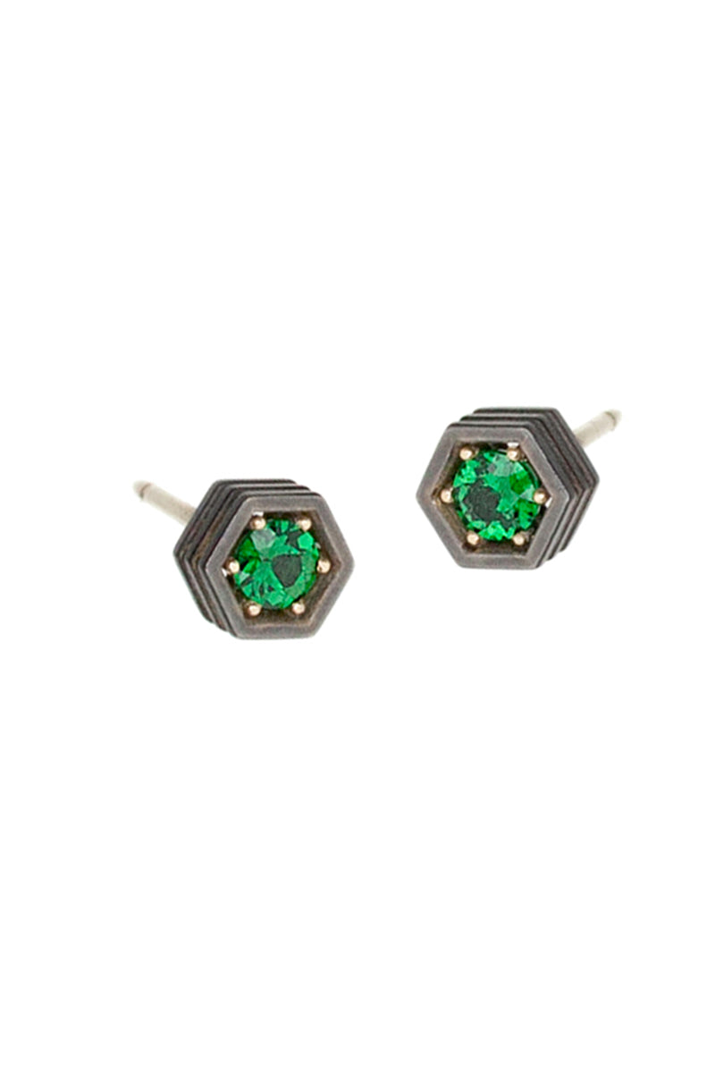 Hex Stud Earrings - Tsavorite Garnet Blackened White Gold
