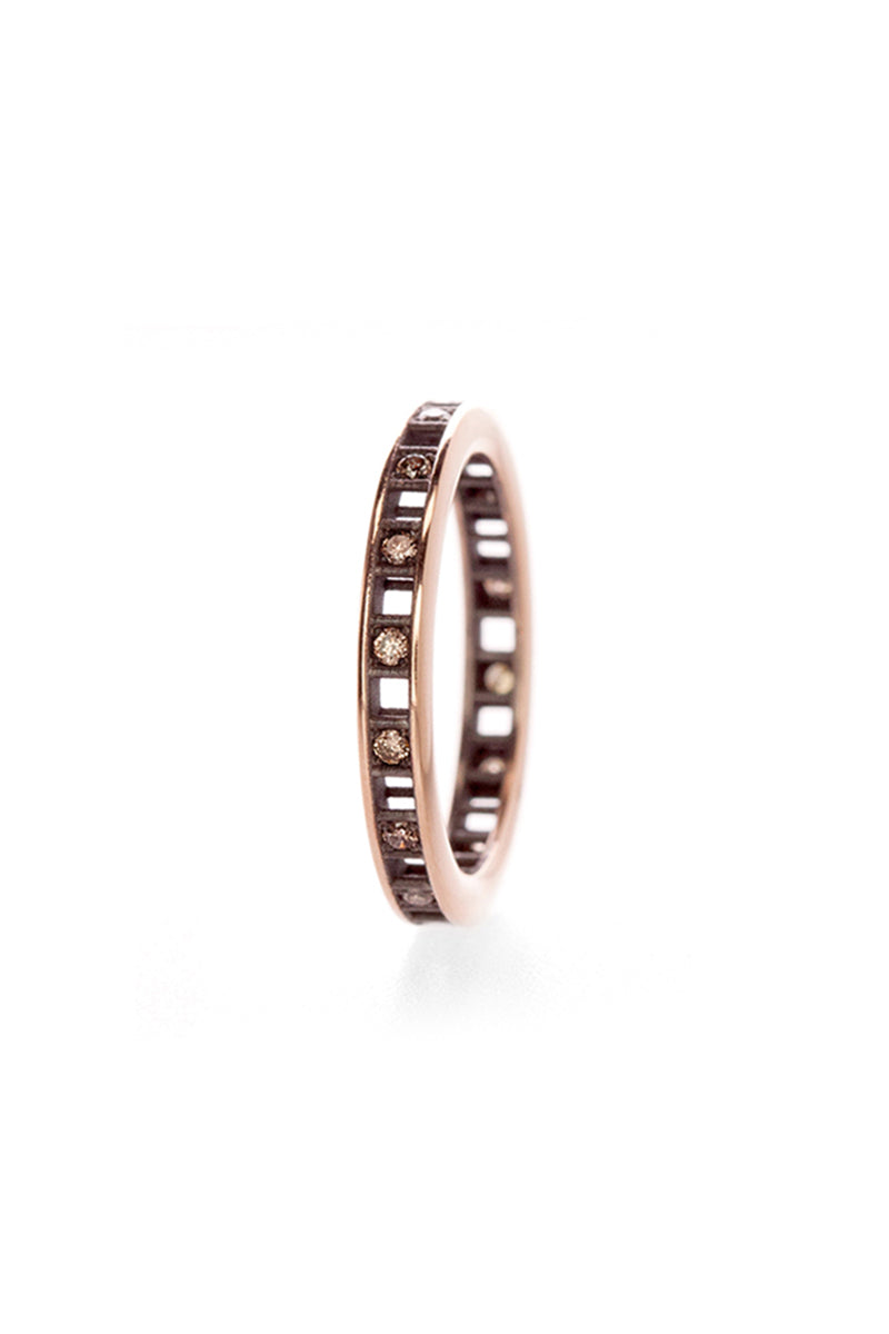 Pixel Dust One Row Ring - Open Set Brown Diamonds in Blackened White Gold
