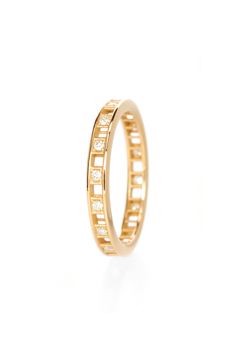 One Row Pixel Dust Stacking Ring - White Diamonds Yellow Gold