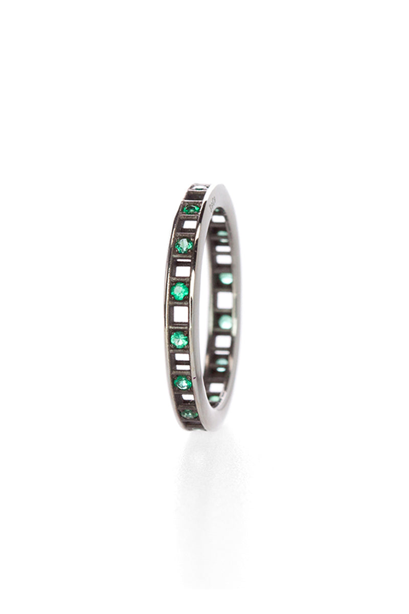 Pixel Dust One Row Ring - Open Set Emeralds in Blackened White Gold
