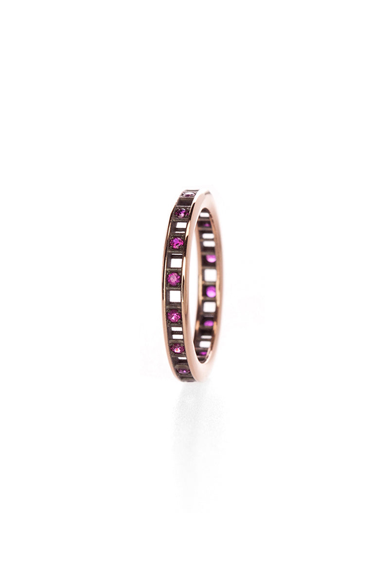 One Row Pixel Dust Stacking Ring - Rubies Blackened Rose Gold