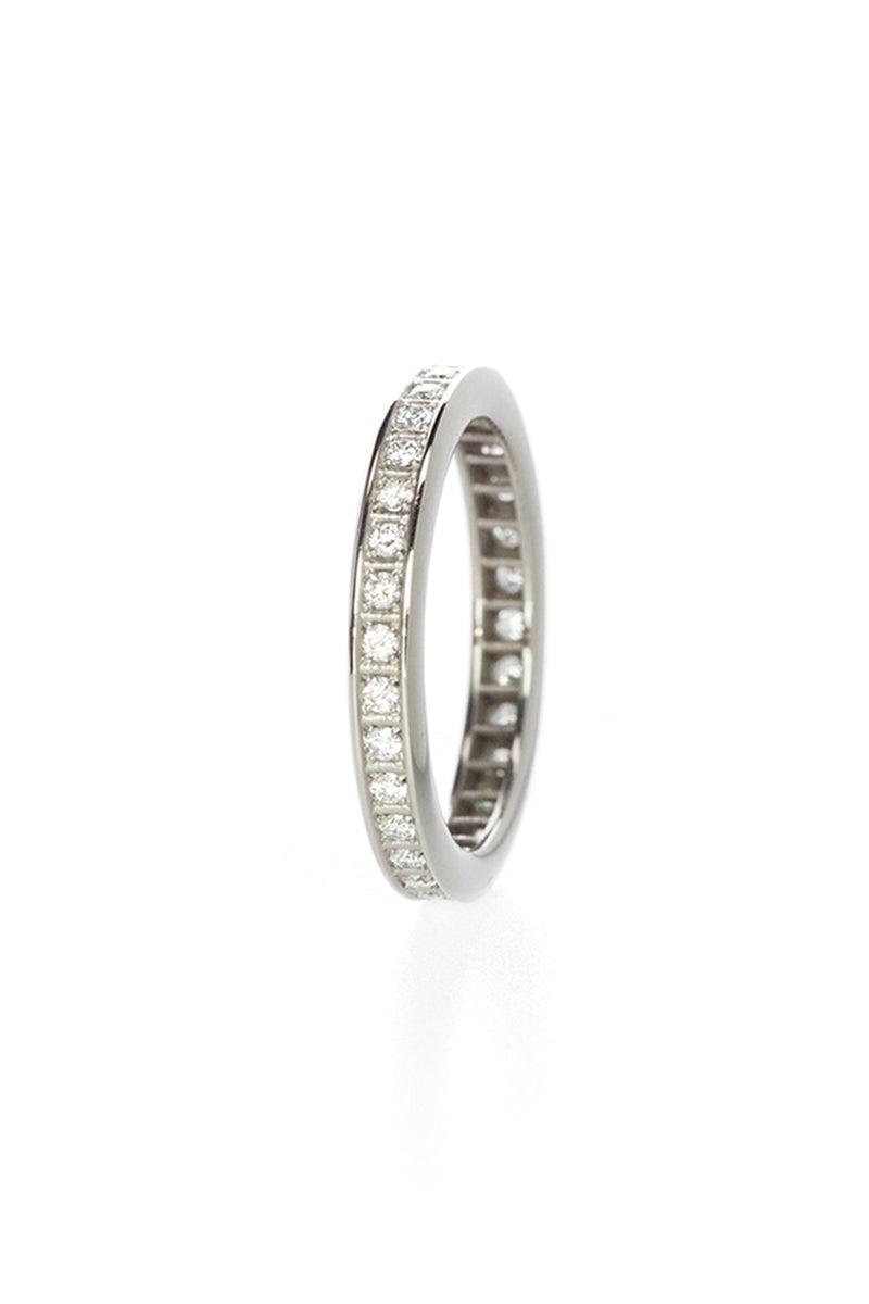 Pixel Dust One Row Ring - Full Set White Diamonds in White Gold