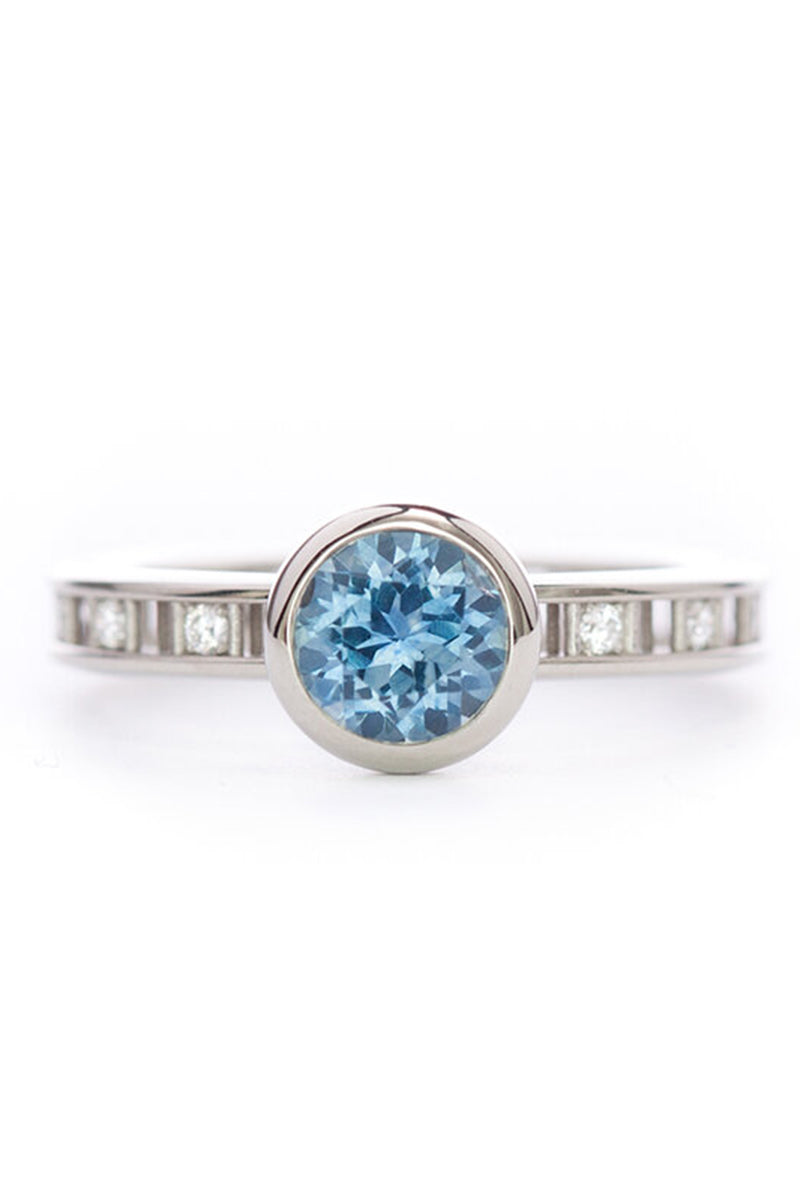 Pixel Dust Open Set Solitaire Ring - Round Montana Blue Sapphire in White Gold