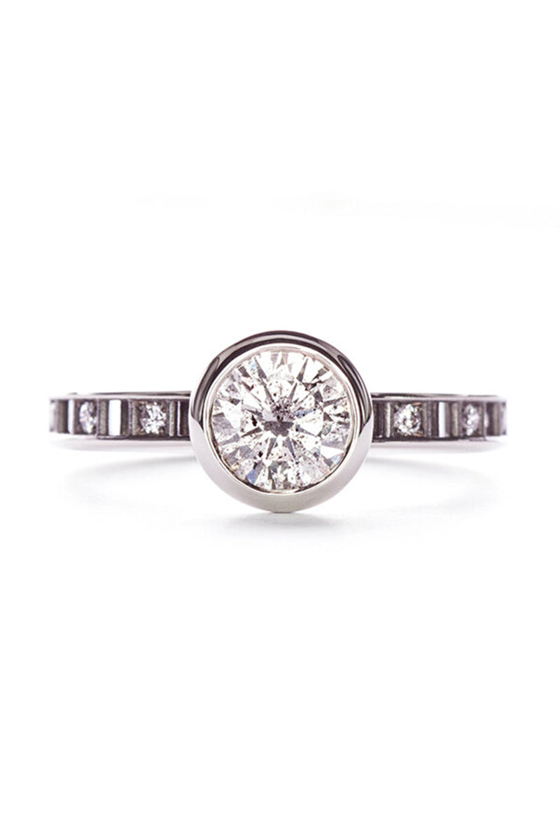Pixel Dust Open Set Solitaire Ring - Round Grey Diamond in White Gold