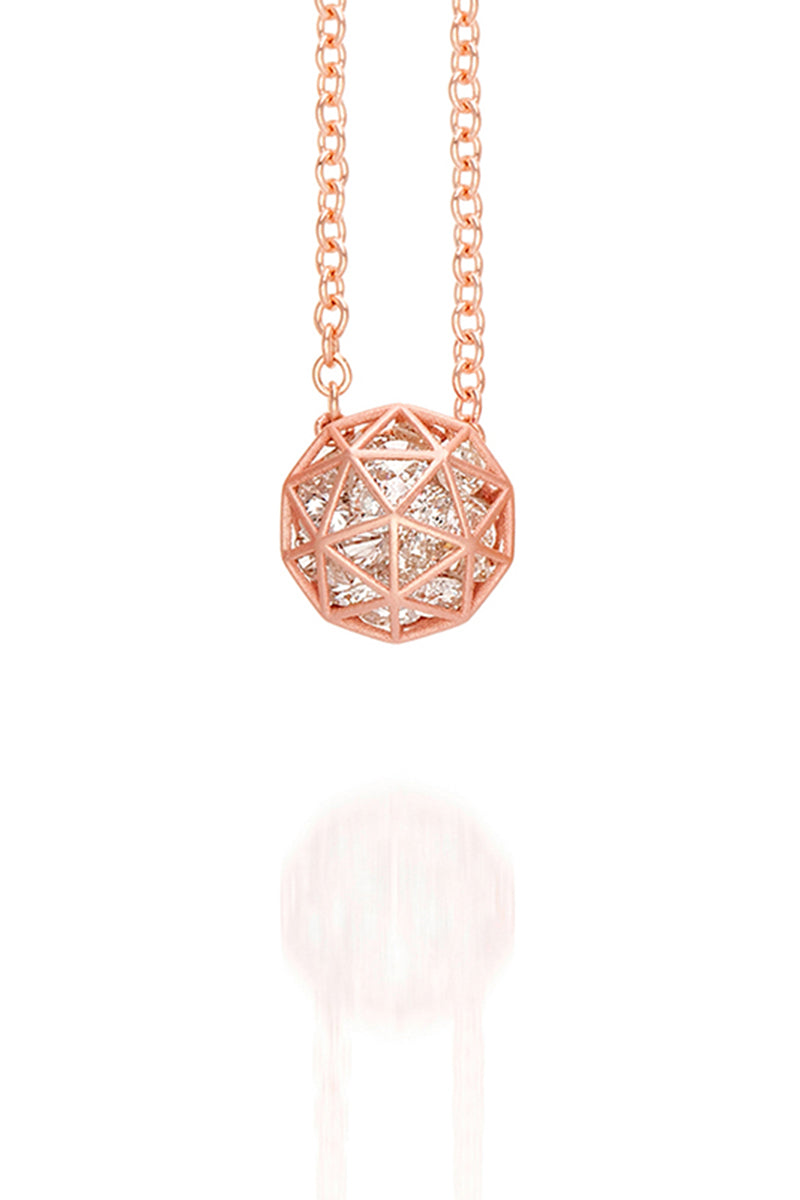 Roulette Decagon Pendant Necklace - Champagne Diamonds RG
