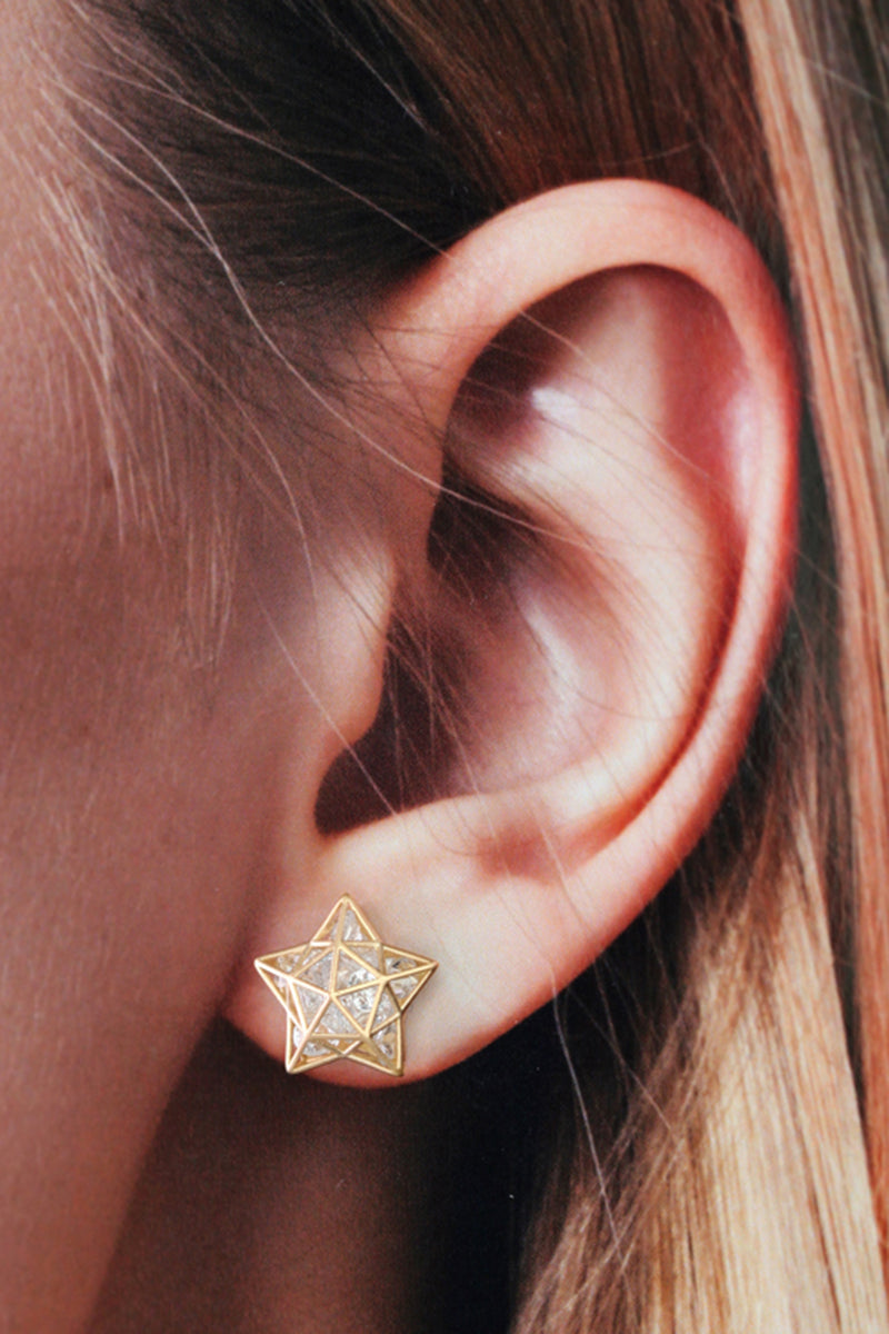Roulette Star Stud Earrings - White Sapphires Yellow Gold