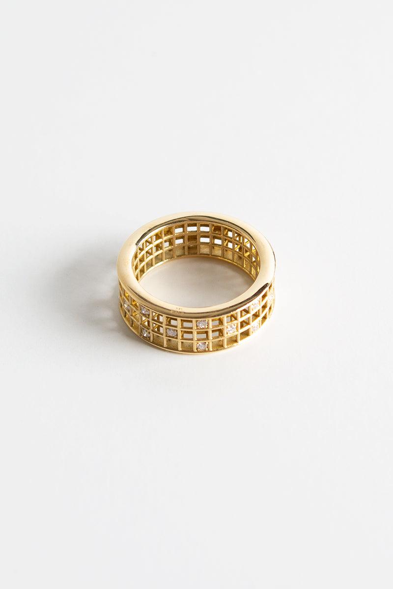 Three Row Pixel Dust Stacking Ring - White Diamonds Yellow Gold