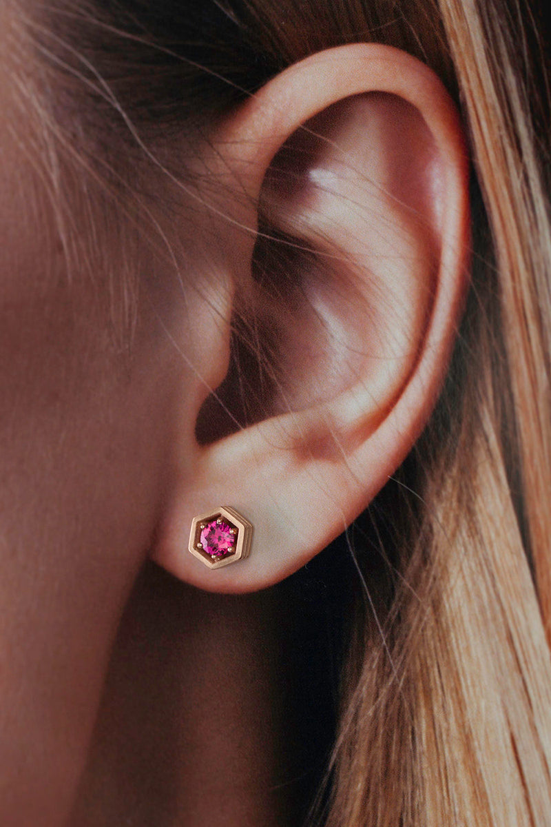Hex Stud Earrings - Burmese Ruby Rose Gold