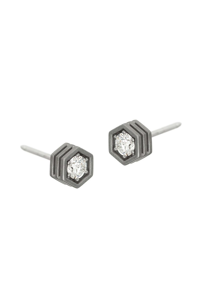 Hex Stud Earrings - White Diamonds Blackened White Gold