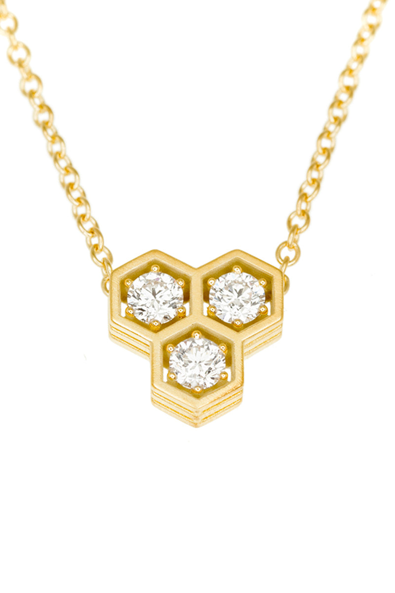 Three Storey Hexy Triple Pendant Necklace - White Diamonds YG