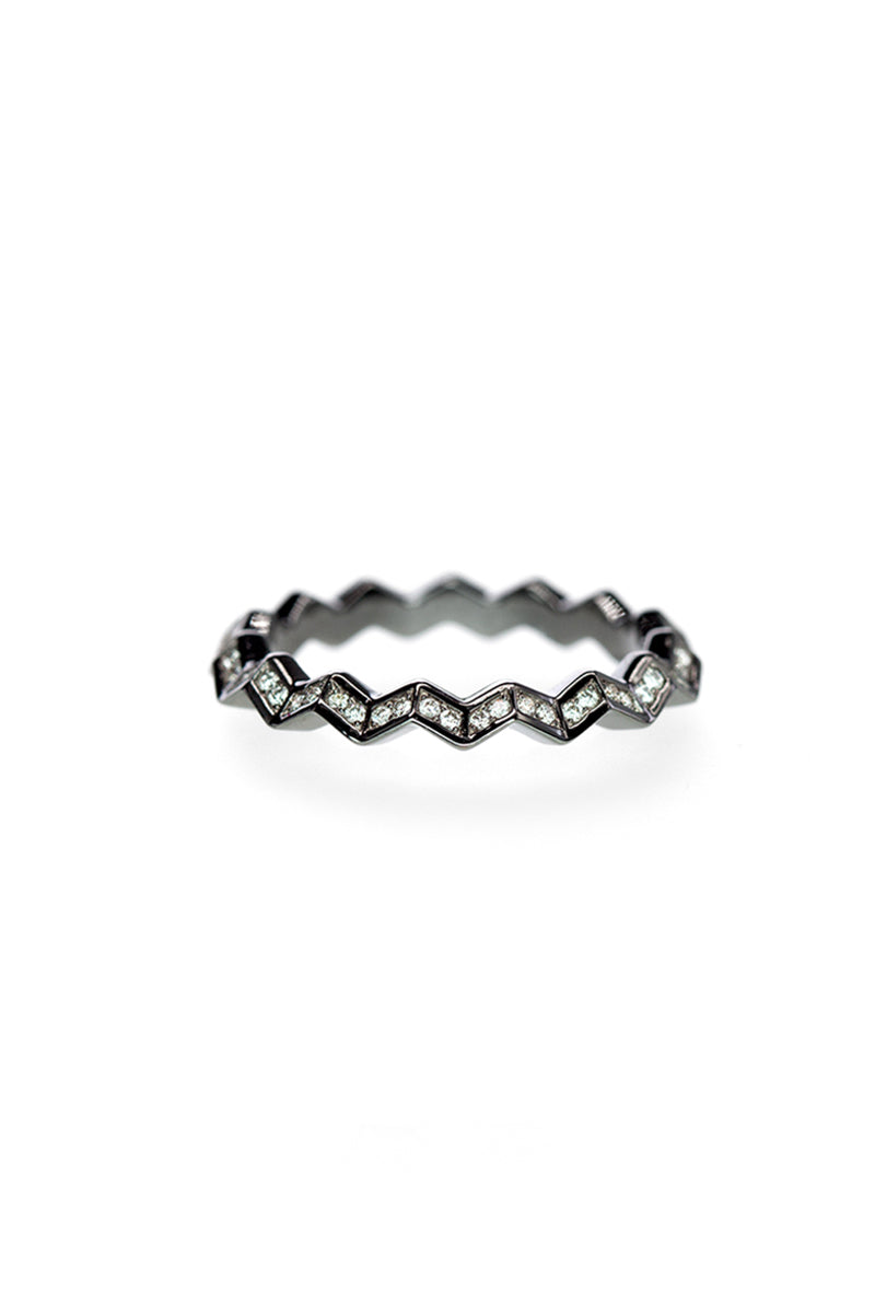 Zig Zag Eternity Ring - White Diamond Pave Blackened White Gold