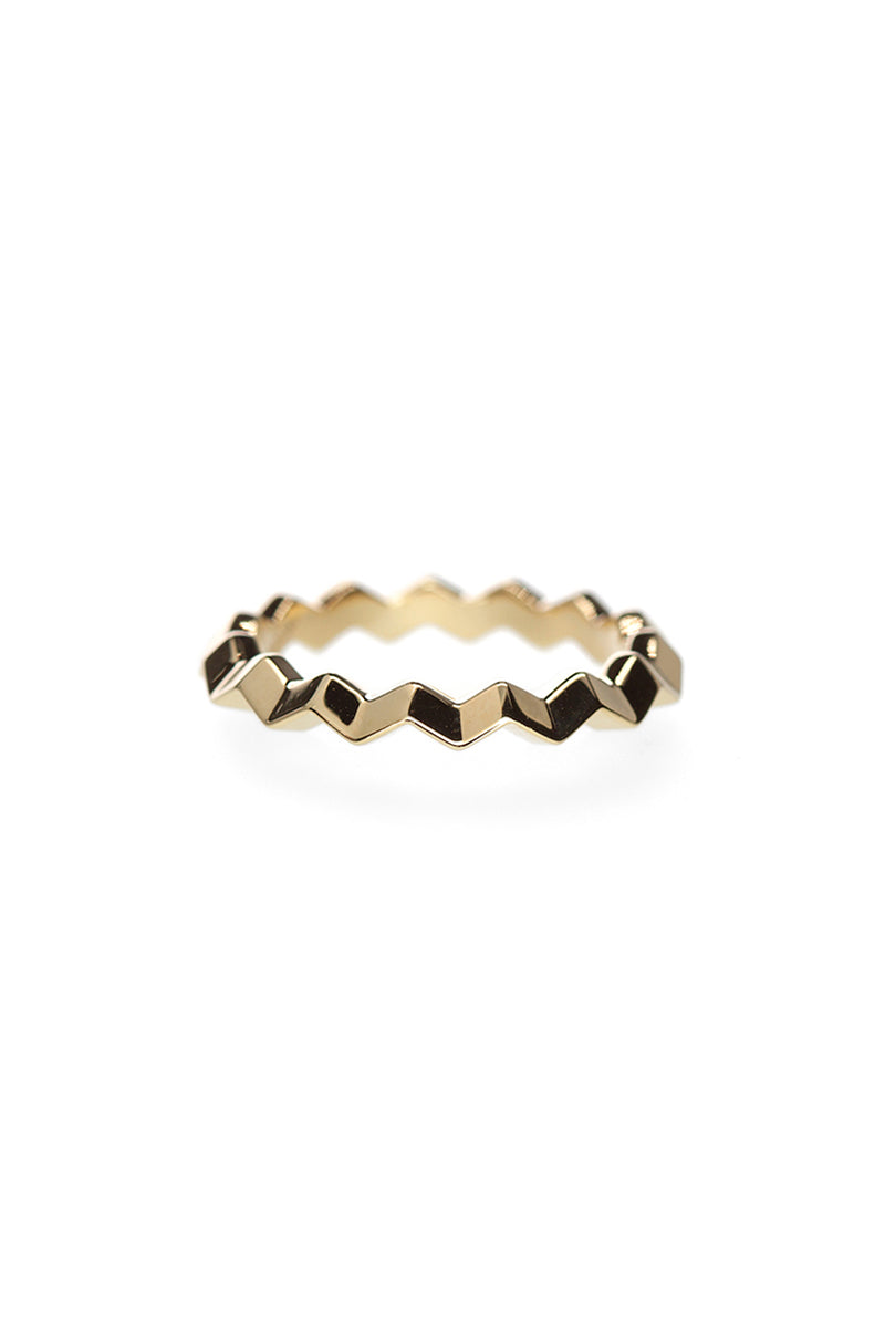 Zig Zag Band - Polished Yellow Gold