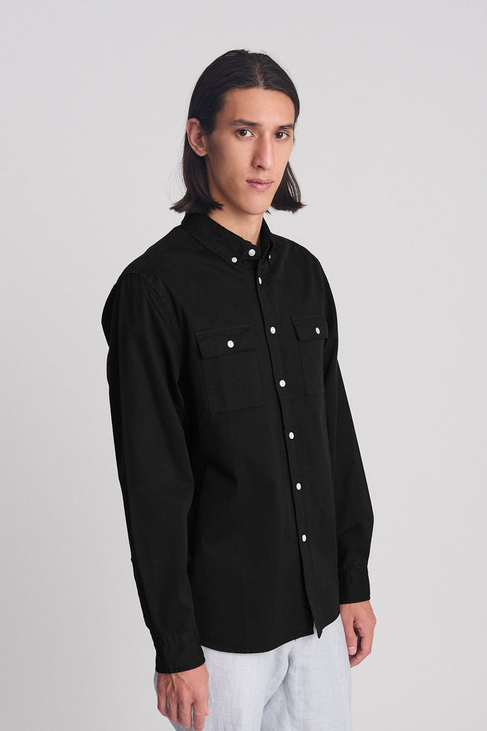 Angus Broken Twill L/S Shirt - Black - Pavilion