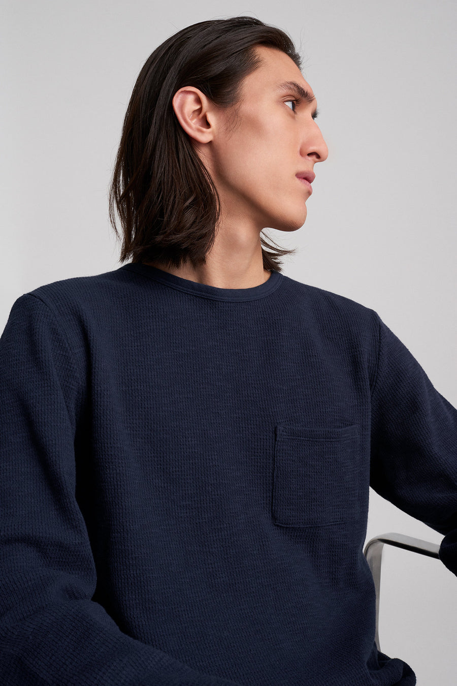 James Waffle Long Sleeve Shirt - Midnight - Pavilion