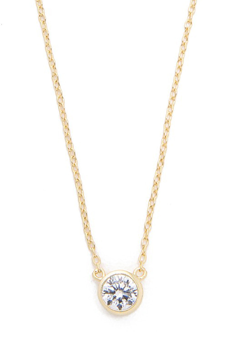 Solitaire Necklace - Yellow Gold - Pavilion