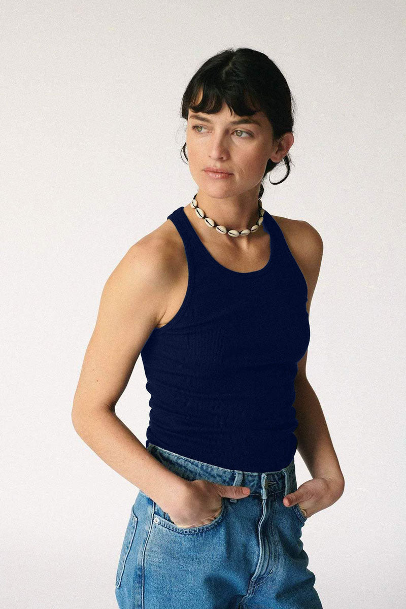 2x1 Rib High Neck Tank - Navy Blue